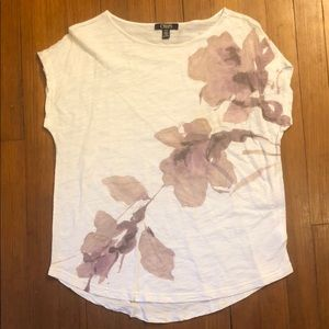 White floral pattern T-shirt